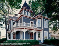 French Blue Victorian Home WithRed And White Trim Find This Pin More On House