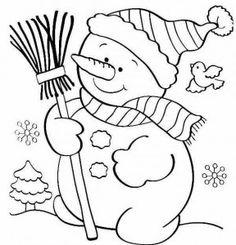 Ver imagenes de navidad para colorear muñeco con escoba