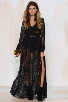 Nasty Gal black sheer long sleeved lace maxi dress