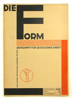 Modernist | dieForm | November 1926 marvelous cover design by joost schmidt