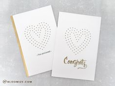 A Congrats wedding card, creative use of a stitched die using the Stitched Hearts die by Waffle Flower @ bloomize.com