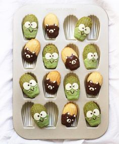 Keroppi Matcha + Rilakkuma vanilla and chocolate madeleines by Michelle Lu (@sweet_essence_)