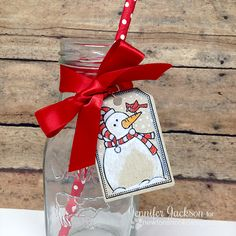 Snowman Milk Bottle Tag by Jennifer Jackson | Jolly Tags stamps and die set by Newton's Nook Designs #newtonsnook