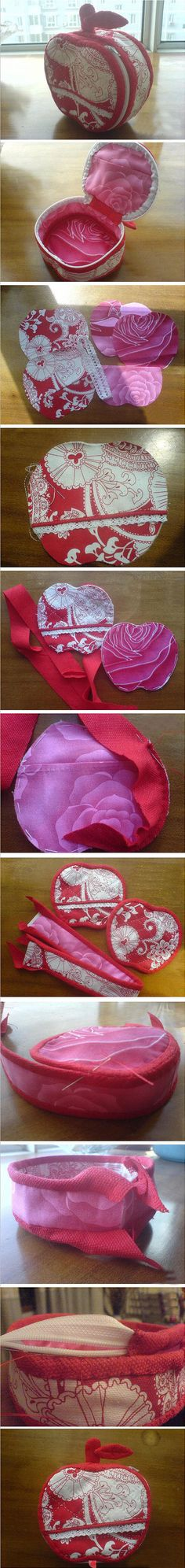 apple sewing box ► the apple idea is cute, but this also shows a great way to make a box shaped case Sewing Hacks, Sewing Tutorials, Sewing Crafts, Sewing Projects, Sewing Box, Love Sewing, Patchwork Quilt, Diy Handbag, Fabric Purses