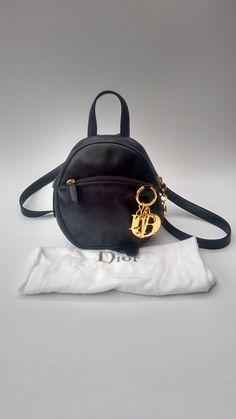 DIOR Backpack. Christian Dior Vintage Lady Dior Black Leather Mini Backpack    Shoulder Bag. French designer purse 65738105ef437