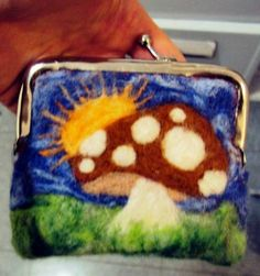 Needle-Felted Coin Purse - FIBER ARTS - This is the first time I've needle-felted anything, and I'm quite proud of it! I jotted down the mushroom on a piece of paper first to get a Coin Purse Tutorial, Small Coin Purse, Needle Felting, Fiber Art, Stuffed Mushrooms, Projects To Try, Lunch Box, Coin Purses, Creative