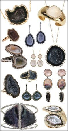 Kimberly McDonald jewelry has gone geode mad!  By combinung natural and organic stones with luxe details like pavé diamonds in gold and platinum settings.
