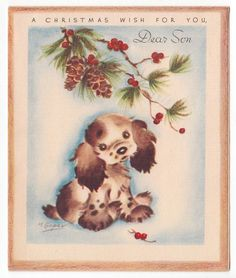 UNUSED Vintage Greeting Card Christmas Puppy Dog Artist Marjorie  M Cooper 1940s