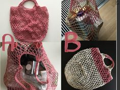 Hæklet net til indkøb, bolde, bamser mm.