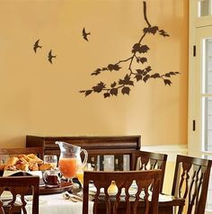 Large Fruit Tree Stencil - Reusable Wall Stencils for DIY Decor Wall Painting Living Room, Dining Room Wall Art, Room Wall Decor, Diy Wall Decor, Home Decor, Wall Decorations, Art Decor, Tree Stencil For Wall, Leaf Stencil