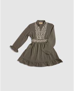 Vestido de niña Vitivic gris oscuro bordado