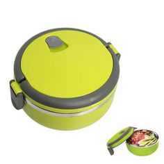 Round Shaped Single Layers Stainless Steel Lunch Box for Office/Kitchen/School Green | Everbuying.com