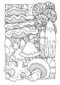 coloring page mushrooms