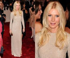 Gwyneth in a sequined Stella McCartney gown and nude peep-toe pumps at the Met Gala 2011.