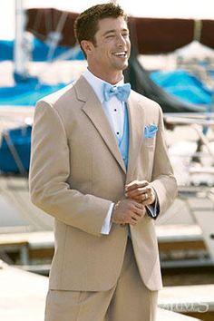 Tan suit and periwinkle tie/vest
