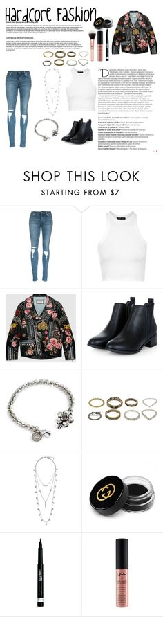 """""""HardCore Fashion"""" by fashionized-m ❤ liked on Polyvore featuring Balmain, Topshop, Gucci, Sweet Romance, Lucky Brand, Rimmel and NYX"""