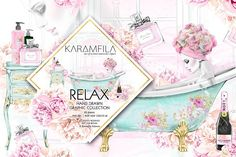 Relax - Illustrations. Watercolor bathroom art. Dior, flowers, pretty woman. Perfect for planner stickers, patterns for paper/ fabric, printables, design wedding stationary, invitations, digital and physical scrapbooking, cardmaking, announcement cards, blog or web design, logo design, photo overlays