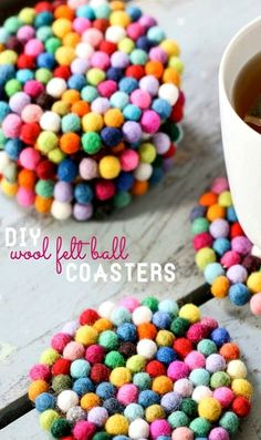 DIY Wool Felt Ball Coasters