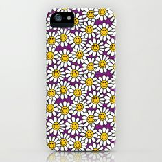 Purple Smiley Daisy Flower Pattern iPhone & iPod Case by Hippy Gift Shop - $35.00