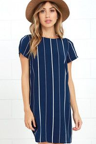 It's looking like a great day is on the horizon thanks to the So Perfect Navy Blue Striped Shift Dress! Ivory woven rayon has a black striped print over a bateau neckline, short sleeves, and darted shift bodice. Exposed gold back zipper. #CuteDresses #TrendyTops, #FashionShoes #JuniorsClothing