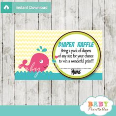 Printable pink whale baby shower game Diaper Raffle Game Tickets. #babyprintables