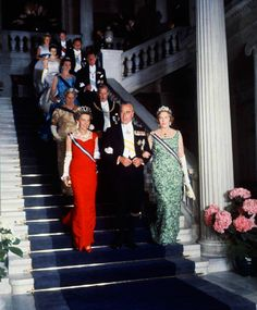 spanishroyals:  Their Royal Highnesses the Infanta Beatriz and the Infanta María Cristina with their uncle Lord Mountbatten at the pre-wedding ball of their nephew Prince Juan Carlos with Princess Sophia of Greece and Denmark. Athens, 1962.