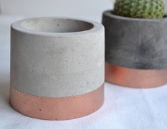 Copper Painted Concrete Plant Pots by FlorenceAndMoose on Etsy https://www.etsy.com/uk/listing/515221528/copper-painted-concrete-plant-pots