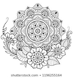 Circular pattern in form of mandala with flower for Henna, Mehndi, tattoo, decoration. Decorative ornament in ethnic oriental style. Coloring book page. Flor Henna, Henna Mehndi, Mehndi Tattoo, Mandala Wallpaper, Mandala Flower, Henna Mandala, Henna Drawings, Circular Pattern, Mehndi Patterns
