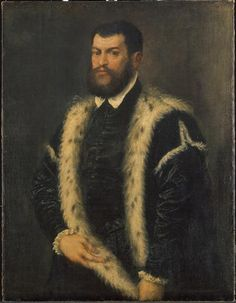Portrait of a Man in an Ermine Coat (High Renaissance) by Titian (Tiziano Vecellio - Pieve di Cadore, 1488-1576).