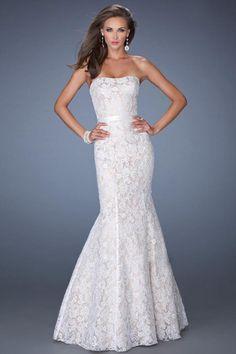 Bridesire - Meerjungfrau-Linie / Mermaid-Stil trägerloser Ausschnitt Bodenlang Spitzen Kleid [BDFJLZR] - €136.48 : Bridesire