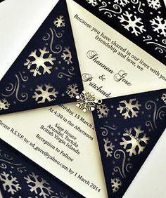 WEDDING INVITATION LASER CUT SNOWFLAKE PETAL, INSERT & ENVELOPE (051)