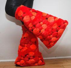 Red/Orange Bubble Fur Leg Warmers