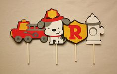 Fireman Dalmatian Cupcake Toppers – 12 Handmade Toppers – Fireman Truck Theme - Kids Birthday Party Paper Decoration – FREE PERSONALIZATION Fireman Kids, Dalmatian Party, Birthday Ideas, Birthday Parties, Fireman Birthday, Fire Truck, Paper Decorations, Paper Goods, Cupcake Toppers