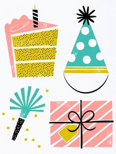 Party Items Birthday Card by Hooray Today! Birthday Wishes, Birthday Cards, Zine, Collage, Birthday Design, Pattern Illustration, Graphic Illustration, Party Items, Print Patterns
