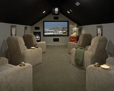 Affordable and attainable media room idea. Affordable and attainable media room idea. Movie Theater Rooms, Home Theater Setup, Home Theater Seating, Cinema Room, Home Theater Design, Attic Theater, Attic Movie Rooms, Attic Game Room, Theatre Rooms
