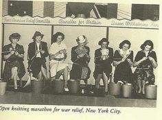 "an early ""knit in public day"" -- fundraising at an ""Open Knitting Marathon for War Relief"", NYC, WWII"
