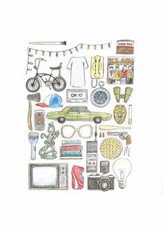A4 Más extrañas cosas mano lámina dibujada en por flatlaydesign