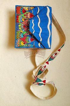 Madhubani Art, Madhubani Painting, Pottery Painting, Fabric Painting, Painted Bags, Hand Painted, Kitsch Art, Indian Crafts, Indian Art Paintings