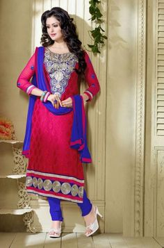 Pink and Blue Color Semistitched Salwar Suits : Meher Collection YF-22389