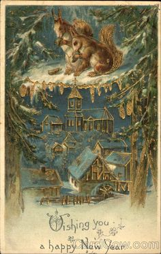 Vintage Happy New Year Card Vintage Christmas Images, Antique Christmas, Vintage Holiday, Christmas Pictures, Vintage Happy New Year, Happy New Year Cards, New Year Greetings, Christmas Scenes, Christmas Art