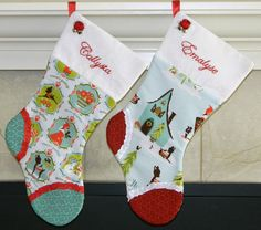 """Christmas Stockings set of 2 Personalized Christmas stocking. """"Reindeer"""" perfect for twins or sisters"""