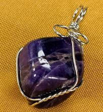 FREE SHIPPING! Amazing Wire Wrapped Amethyst Nugget Gemstone Pendant #0790