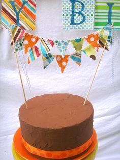 Cake Bunting - Orange, Aqua Blue, Lime Green, Brown Cake Topper via Etsy