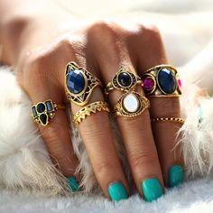 Navy Stone Boho Rings