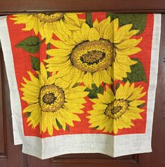 Large Sunflowers Unused Linen Towel Vivid Yellow Dark Orange