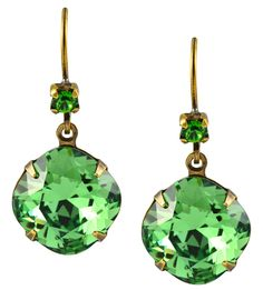 #HathawayTing #HathawayTingJewelry  #HathawayTingSwarovski Antique Gold Plated Swarovski Crystal Dangle Earrings