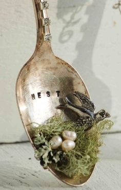 We'll Build a little NEST * Shabbiest of chic * Silver plate spoon decoration using seed pearls and assemblage art * DIY How-To * Photo Inspiration * Silverplate Silverware Upcycle * Handmade Springtime Art Decor * OOAK Jewelry and Gifts *  Handmade Fork, Knife and Spoon Crafts