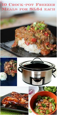 10 Crock-pot Freezer Meals with grocery list Crock Pot Freezer, Freezer Cooking, Crock Pot Cooking, Easy Cooking, Healthy Crockpot Recipes, Slow Cooker Recipes, Cooking Recipes, Crockpot Ideas, Freezer Recipes