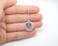 Personalized Sterling Silver Circle washer Necklace by AiryLoft, $24.00