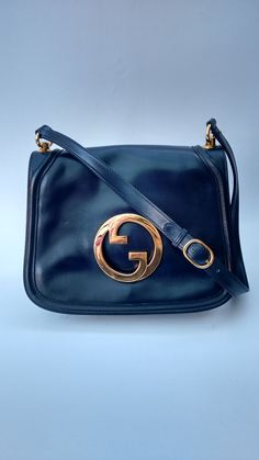 f892c707663a9b GUCCI Bag. Gucci Blondie Vintage Navy Blue Leather Shoulder Bag . Italian  Designer Purse.